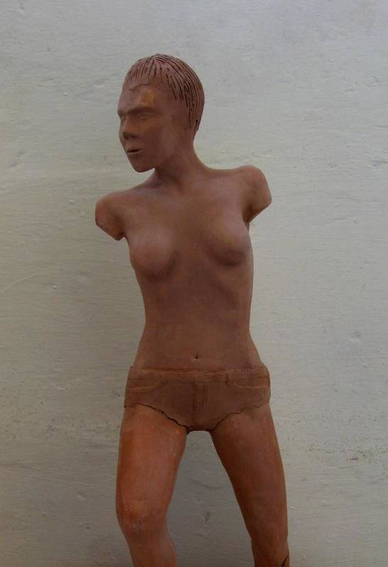 Clay Poster featuring the ceramic art Model Female Nude.01 by Ray Agius
