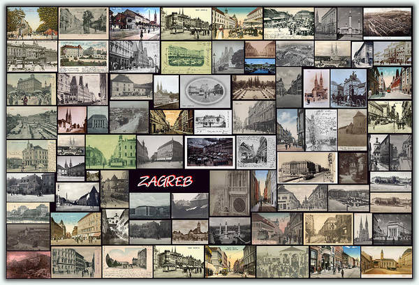 Old Zagreb Poster featuring the pyrography Old Zagreb Collage by Janos Kovac