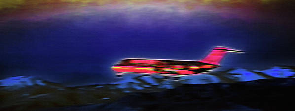 Plane Poster featuring the photograph Plane Landing At Airport - The Red Eye Flight by Steve Ohlsen