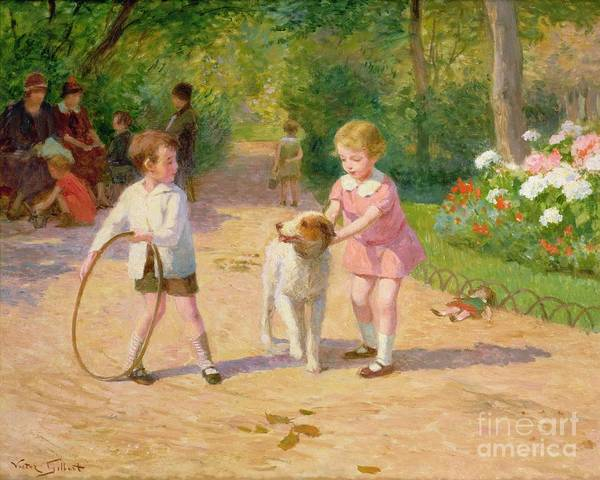 Playing Poster featuring the painting Playing With The Hoop by Victor Gabriel Gilbert