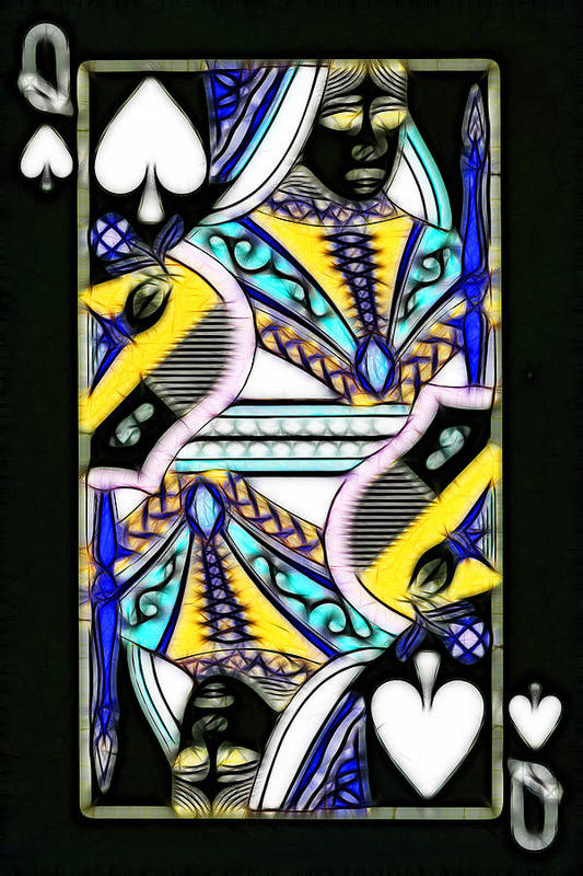 Card Poster featuring the photograph Queen Of Spades - V2 by Wingsdomain Art and Photography