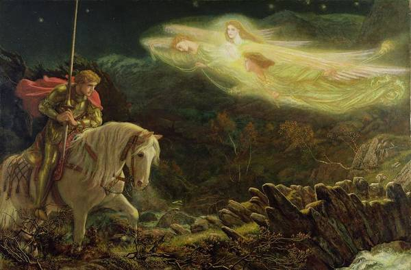 Man Poster featuring the painting Quest For The Holy Grail by Arthur Hughes
