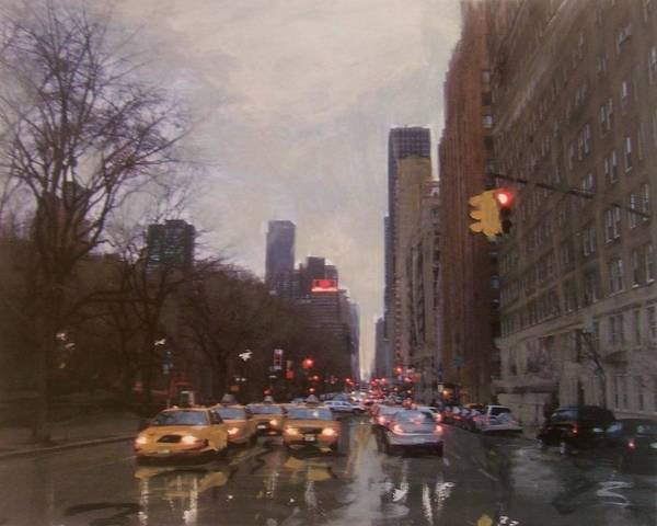 Rain Poster featuring the painting Rainy City Street by Anita Burgermeister
