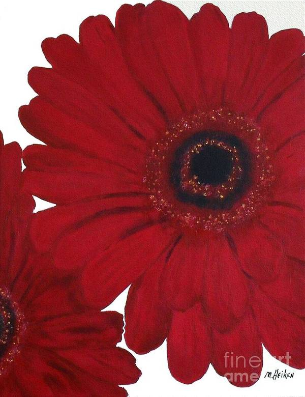 Painting Poster featuring the painting Red Gerber Daisy by Marsha Heiken