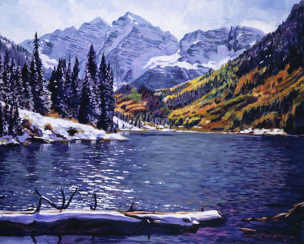 Mountains Poster featuring the painting Rocky Mountain Serenity by David Lloyd Glover