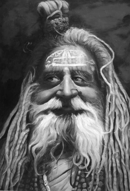 Sadhu Poster featuring the painting Sadhu by Enzie Shahmiri
