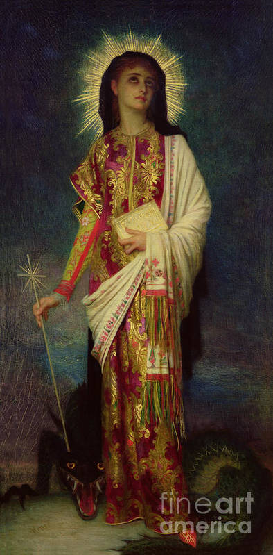 Margaret Poster featuring the painting Saint Margaret Slaying The Dragon by Antoine Auguste Ernest Herbert