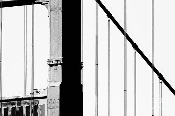 Black And White Poster featuring the photograph San Francisco Golden Gate Bridge . Black And White Photograph . 7d7954 by Wingsdomain Art and Photography