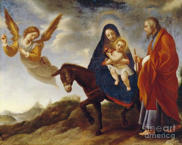 Flight Poster featuring the painting The Flight Into Egypt by Carlo Dolci