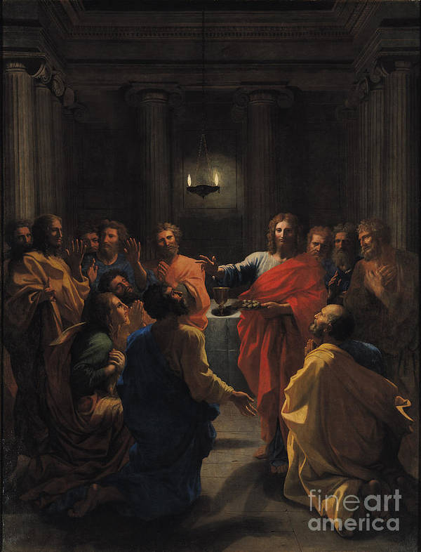 Christ Instituting The Eucharist Poster featuring the painting The Last Supper by Nicolas Poussin