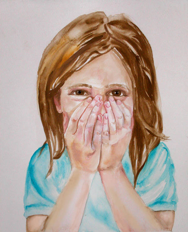 Little Girls Poster featuring the painting Tickled Pink by Anne Cameron Cutri