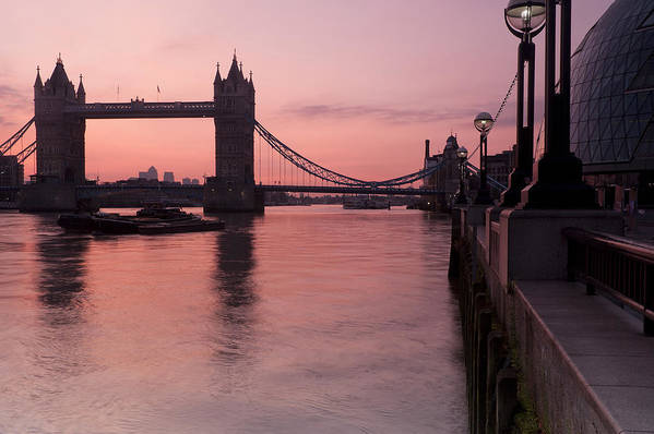 London Poster featuring the photograph Tower Bridge Sunrise by Donald Davis