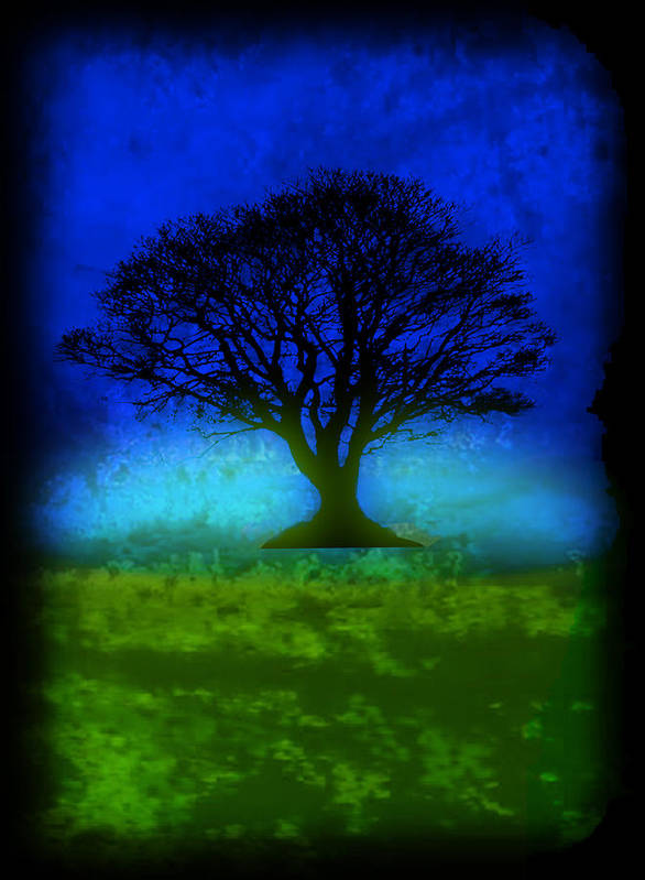 Original Poster featuring the painting Tree Of Life - Blue Skies by Robert R Splashy Art