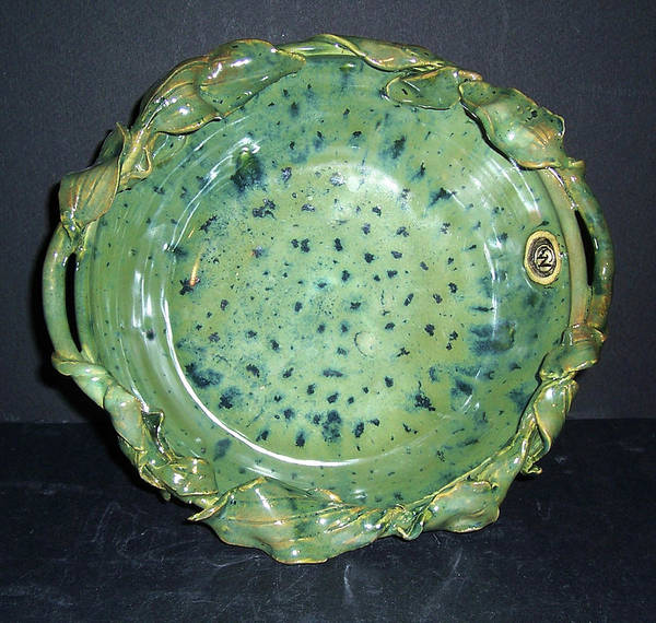 Green Poster featuring the ceramic art Trout Pattern Glaze Bowl With Leaves by Carolyn Coffey Wallace
