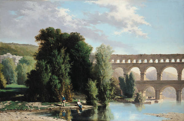 View Poster featuring the painting View Of The Pont Du Gard by Henri Marie Poinsot