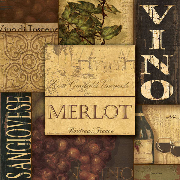 Wine Poster featuring the painting Vino Collage by Grace Pullen
