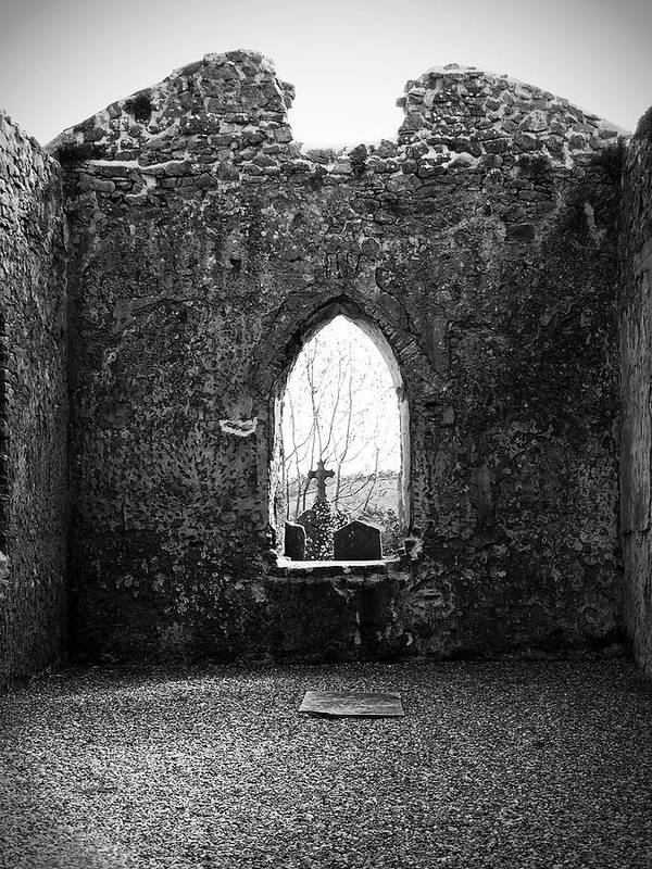 Ireland Poster featuring the photograph Window At Fuerty Church Roscommon Ireland by Teresa Mucha