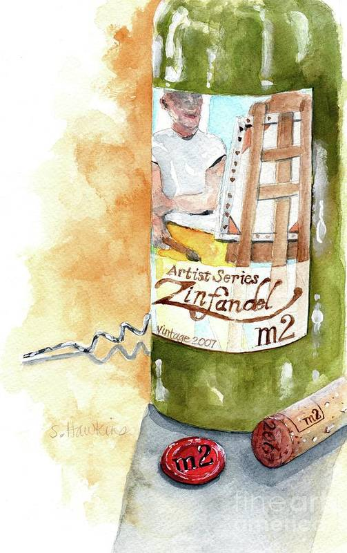 Watercolor Poster featuring the painting Wine Bottle Still Life- M2 Zinfandel by Sheryl Heatherly Hawkins