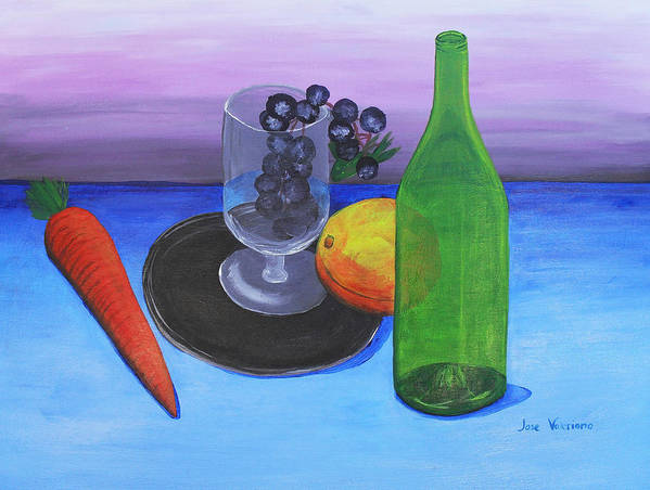 Acrylic Poster featuring the painting Wine Glass And Fruits by Jose Valeriano