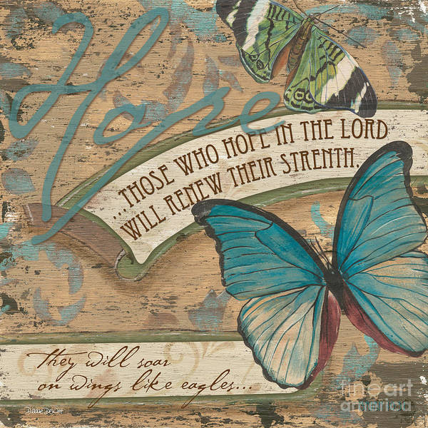 Butterfly Poster featuring the painting Wings Of Hope by Debbie DeWitt