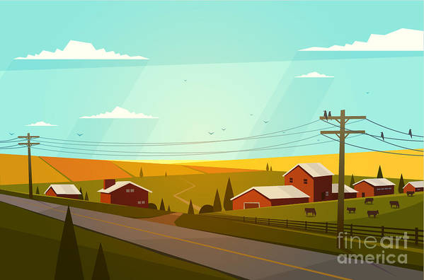 Country Art Print featuring the photograph Rural Landscape. Vector Illustration by Doremi