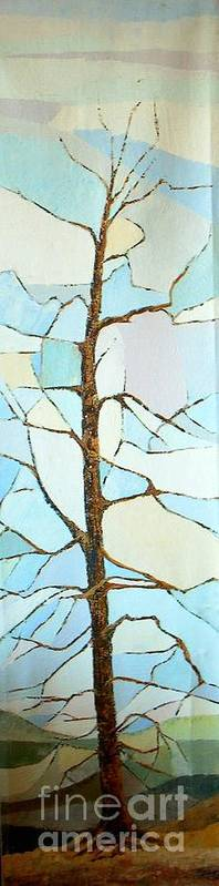 Tall Tree With Limbs Only Art Print featuring the painting The Tree Sky Song by Judith Espinoza