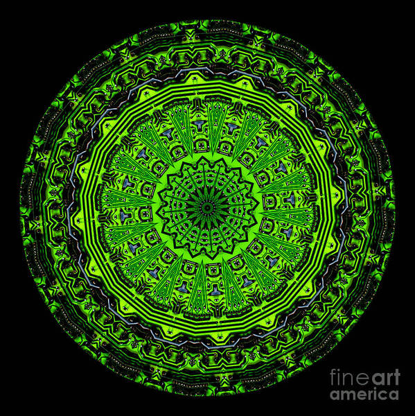 Abstract Art Print featuring the digital art Kaleidoscope Of Glowing Circuit Board by Amy Cicconi