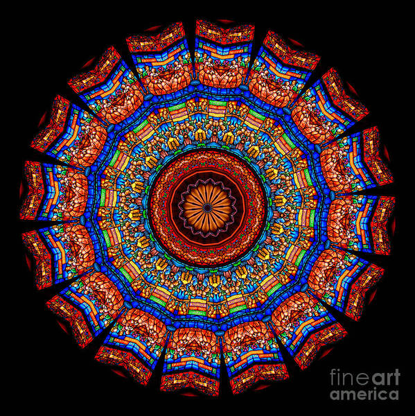 Abstract Art Print featuring the photograph Kaleidoscope Stained Glass Window Series by Amy Cicconi