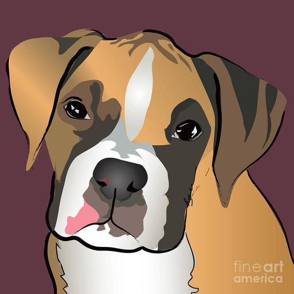 Dogs Art Print featuring the painting Boxer Puppy Pet Portrait by Robyn Saunders