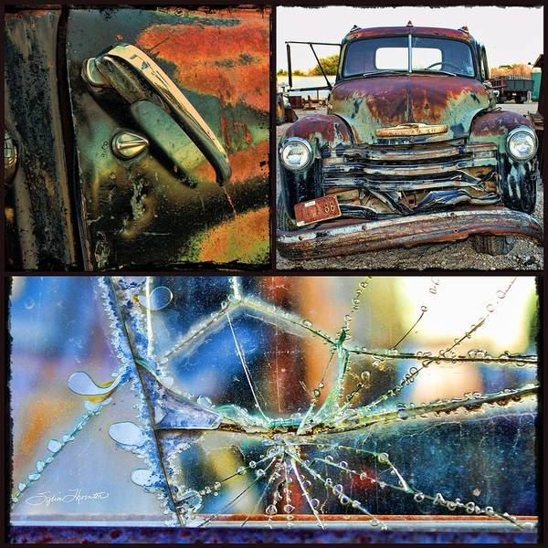 Collage Truck Art Print featuring the photograph Ode To Old Truck by Sylvia Thornton