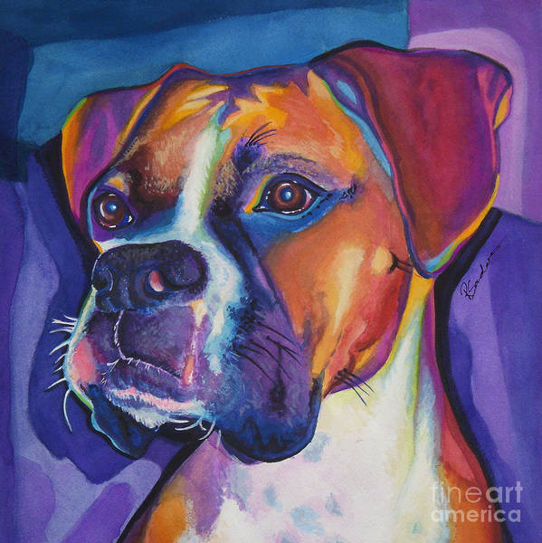 Animals Art Print featuring the painting Square Boxer Portrait by Robyn Saunders