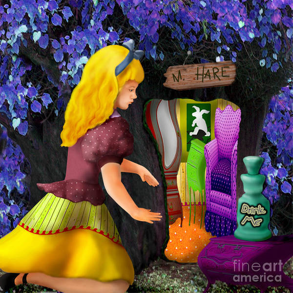 Alice Print featuring the digital art A Room In Wonderland by Lois Mountz