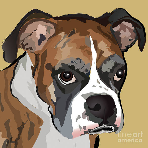 Boxer Dog Art Print featuring the painting Boxer Dog Portrait by Robyn Saunders