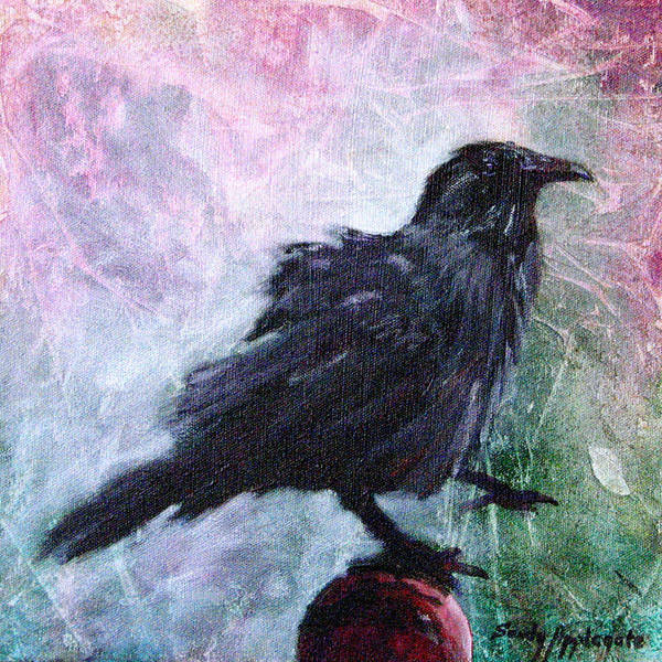 Raven Art Print featuring the painting All Undaunted by Sandy Applegate