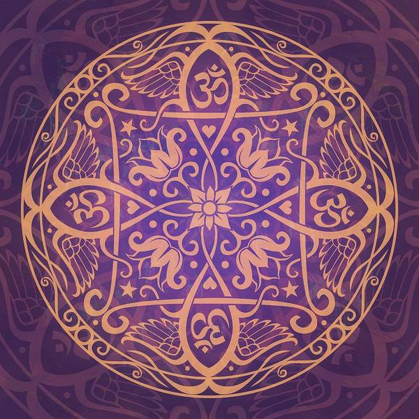 Mandala Print featuring the digital art Aum Awakening Mandala by Cristina McAllister