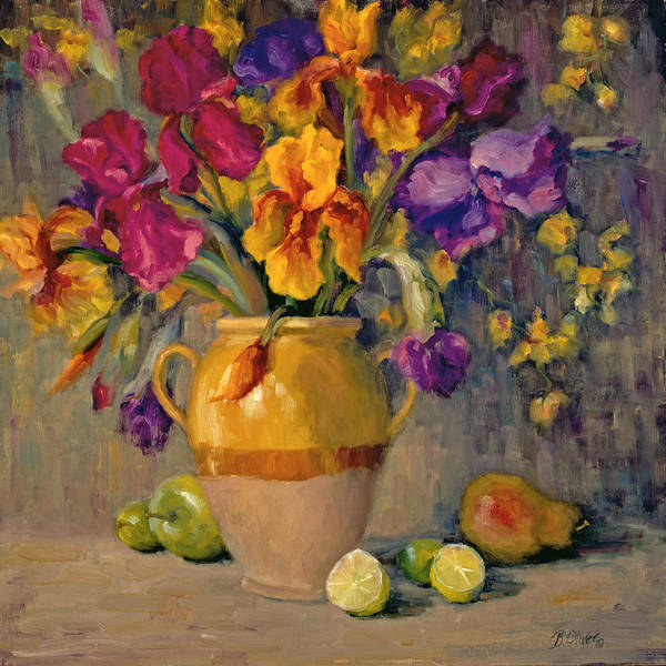 Still Life Art Print featuring the painting Iris Rhapsody by Bunny Oliver