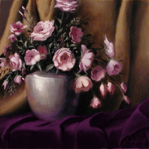 Flowers Art Print featuring the painting Lavander And Pink Flowers In Silver Vase by Stephen Lucas