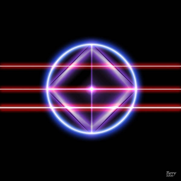 Neon Art Print featuring the digital art Neonesq by Carl Perry