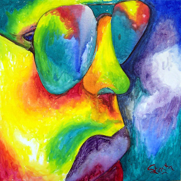Vivid Contemporary Abstract Portrait Art Print featuring the painting The Rock Star by Shasta Miller
