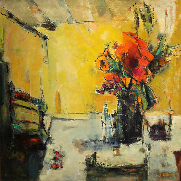 Semi Abstract Floral Art Print featuring the painting The Yellow Room by Blake Originals - Marjorie and Beverly