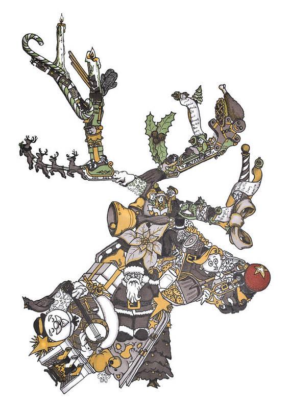Reindeer Games Art Print featuring the painting Reindeer Games by Tyler Auman