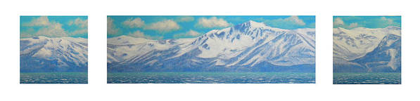 Lake Tahoe Art Print featuring the painting Lake Tahoe After The Storm Triptych by Frank Wilson