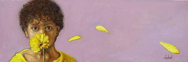Boy Art Print featuring the painting Yellow Gerbera On Purple by Ixchel Amor