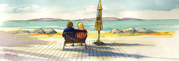 Beach Art Print featuring the painting Couple At The Beach by Ray Cole