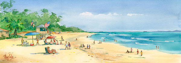Beach Art Print featuring the painting Coastal View by Ray Cole