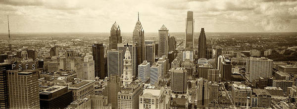 Philadelphia Print featuring the photograph Aerial View Philadelphia Skyline Wth City Hall by Jack Paolini