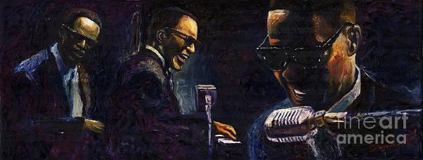 Jazz Art Print featuring the painting Jazz Ray Charles by Yuriy Shevchuk