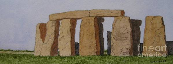 Stonehenge Art Print featuring the painting Golden Glow- Stonehenge by Thom Glace