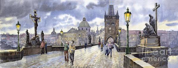 Watercolour Art Print featuring the painting Prague Charles Bridge by Yuriy Shevchuk
