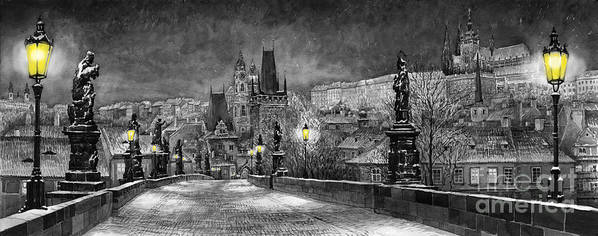 Prague Art Print featuring the painting Bw Prague Charles Bridge 06 by Yuriy Shevchuk